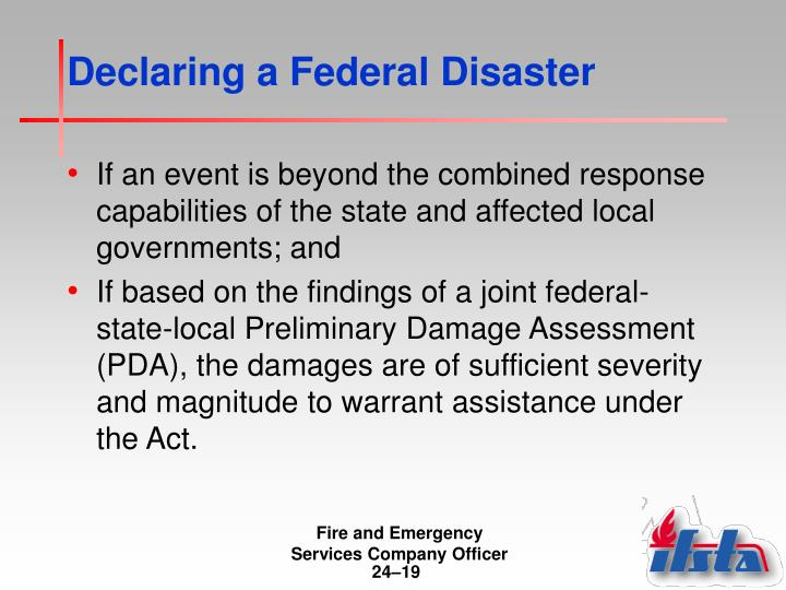 Declaring a Federal Disaster