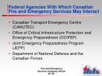 federal agencies with which canadian fire and emergency services may interact