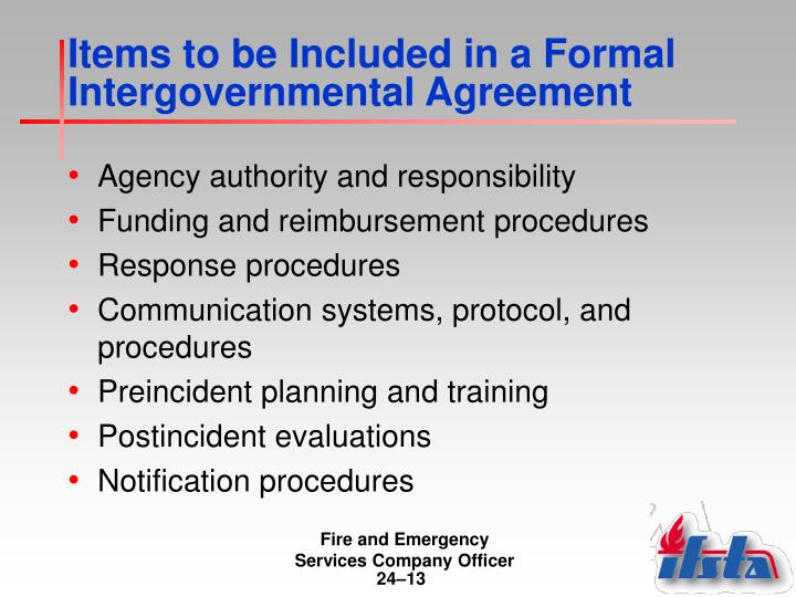 Items to be Included in a Formal Intergovernmental Agreement