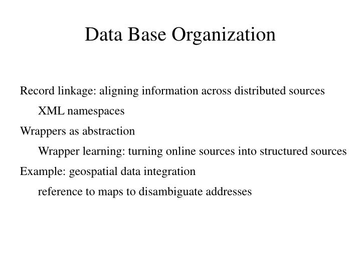 Data Base Organization