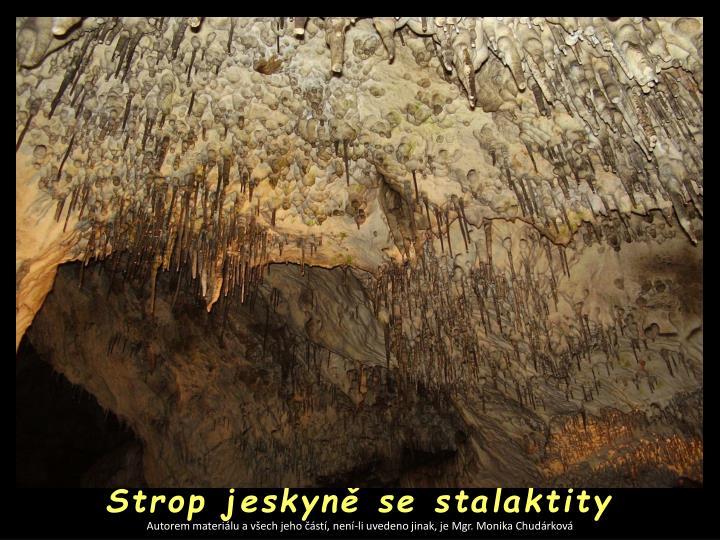 Strop jeskyně se stalaktity