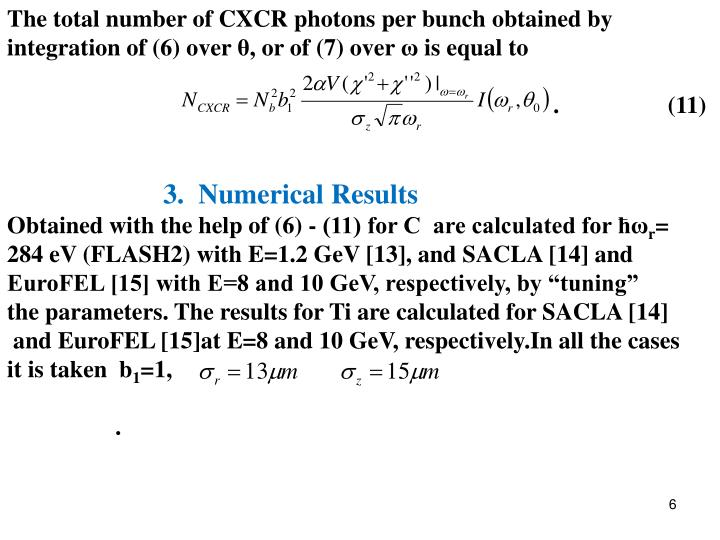 The total number of CXCR photons per bunch obtained by