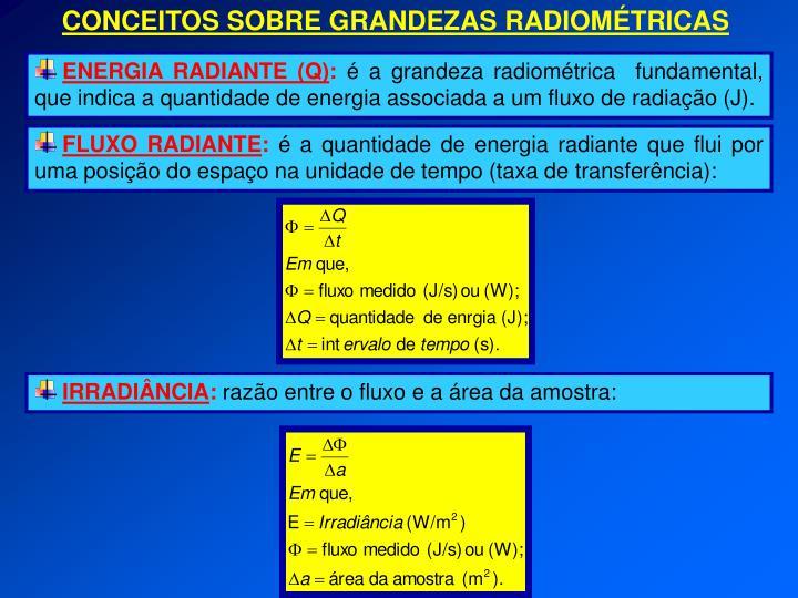 CONCEITOS SOBRE GRANDEZAS RADIOMÉTRICAS