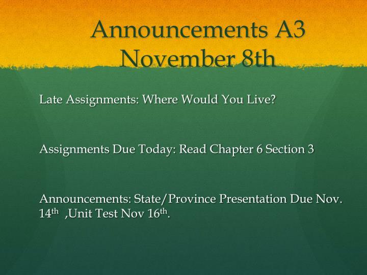 Announcements A