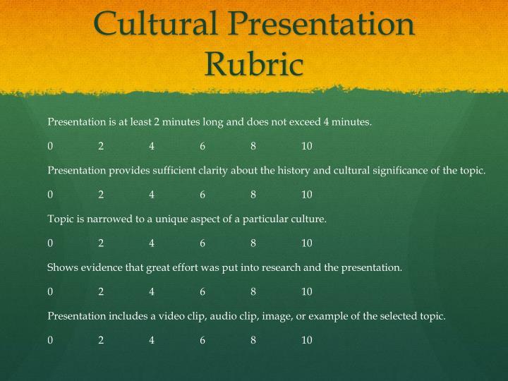 Cultural Presentation Rubric