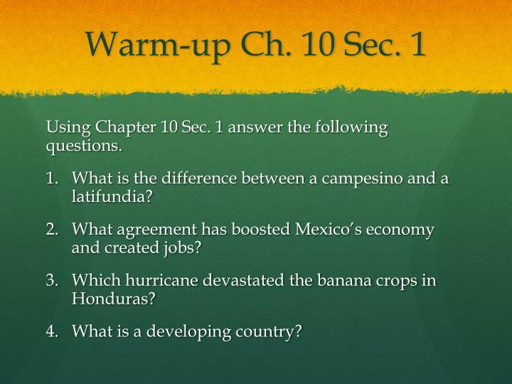 Warm-up Ch. 10 Sec. 1