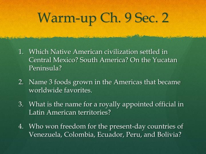 Warm-up Ch. 9 Sec. 2