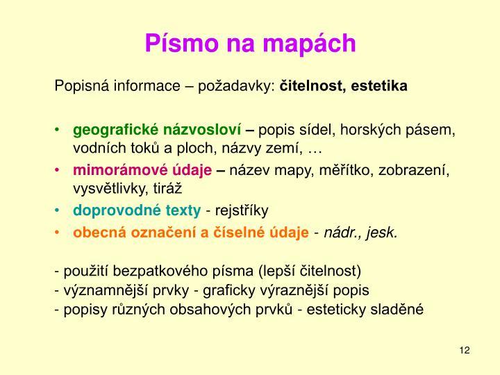 Písmo na mapách