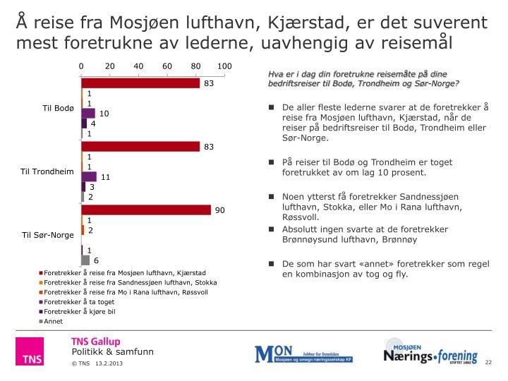 Å reise fra Mosjøen lufthavn, Kjærstad, er det suverent mest foretrukne av lederne, uavhengig av reisemål