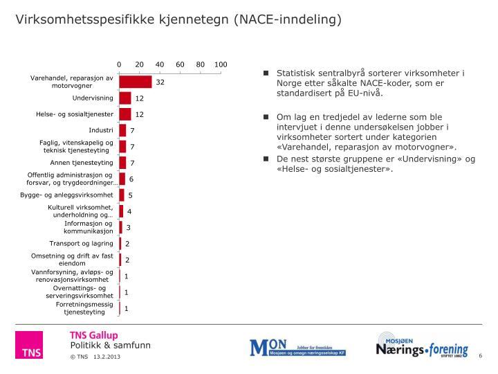 Virksomhetsspesifikke kjennetegn (NACE-inndeling)