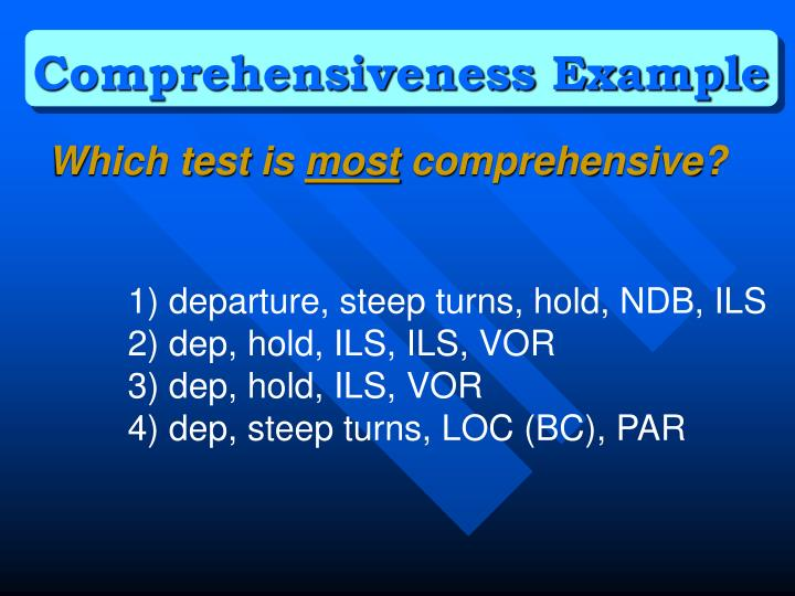 Comprehensiveness Example