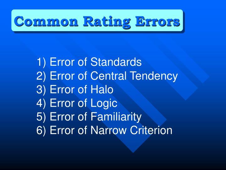 Common Rating Errors