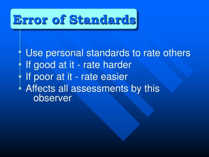 Error of Standards