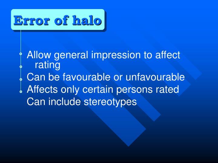Error of halo