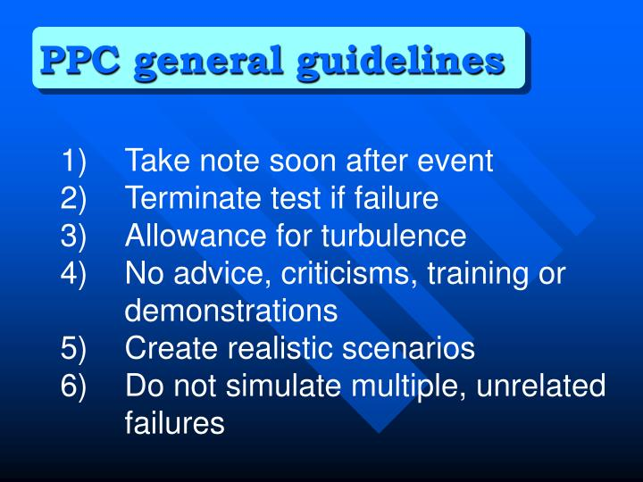 PPC general guidelines