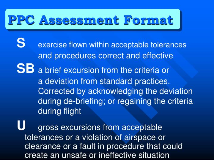 PPC Assessment Format
