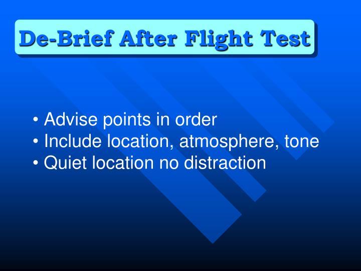 De-Brief After Flight Test