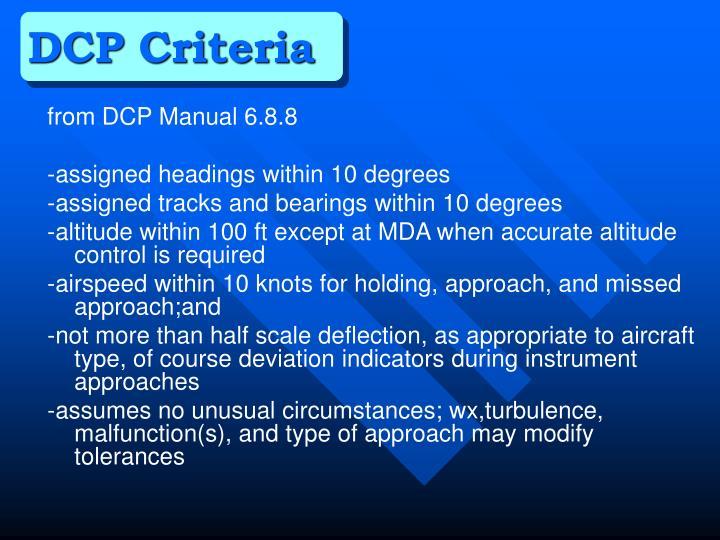 DCP Criteria