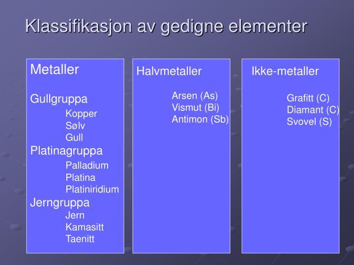 Klassifikasjon av gedigne elementer