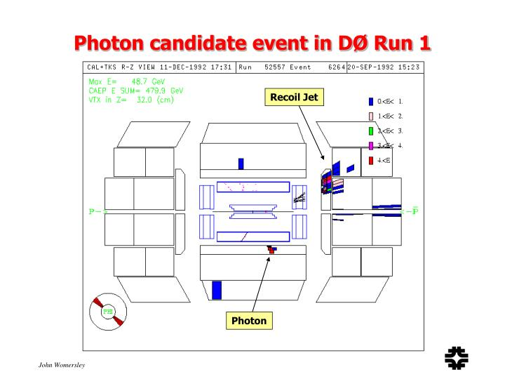 Photon candidate event in DØ Run 1
