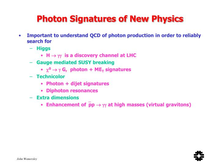 Photon Signatures of New Physics