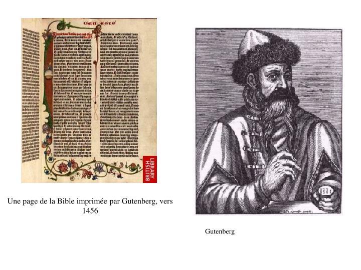 Une page de la Bible imprimée par Gutenberg, vers 1456