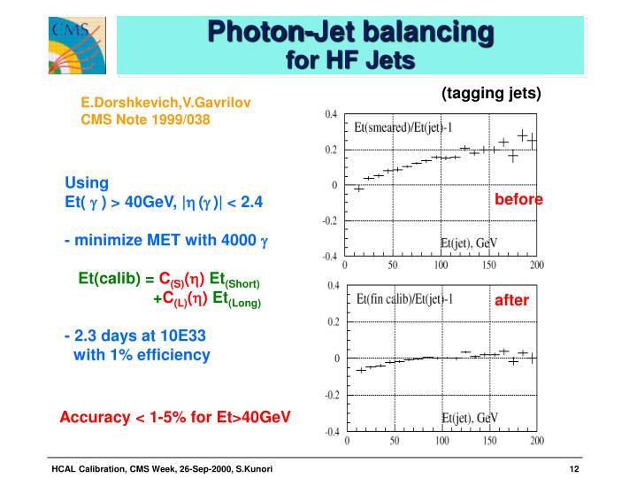 Photon-Jet balancing