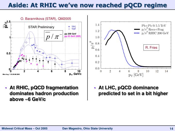 Aside: At RHIC we've now reached pQCD regime