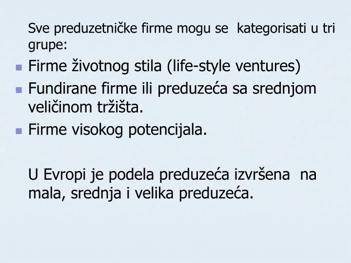 Sve preduzetničke firme mogu se  kategorisati u tri grupe: