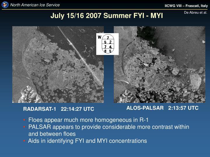 July 15/16 2007 Summer FYI - MYI