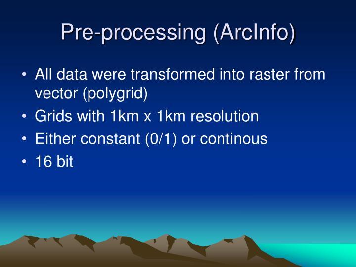Pre-processing (ArcInfo)
