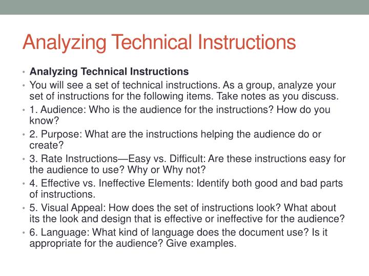 Analyzing Technical Instructions