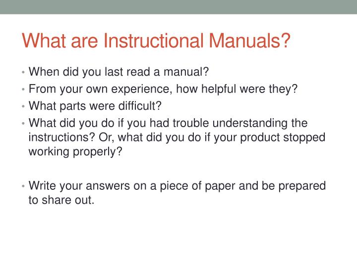 What are Instructional Manuals?
