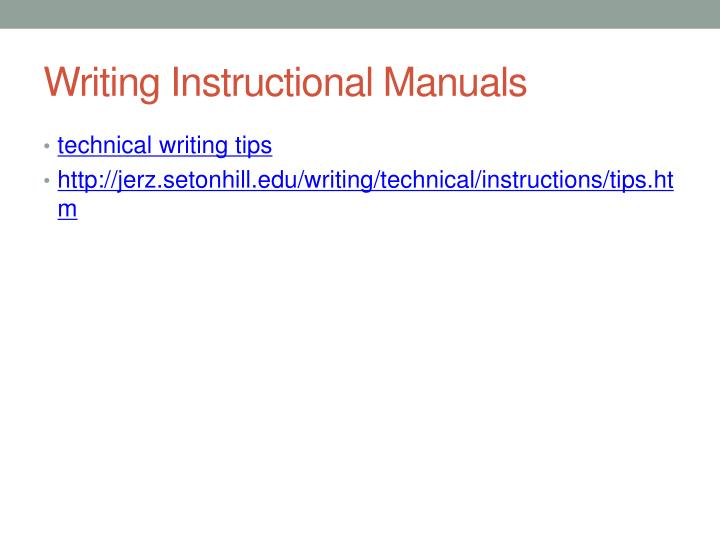 Writing Instructional Manuals