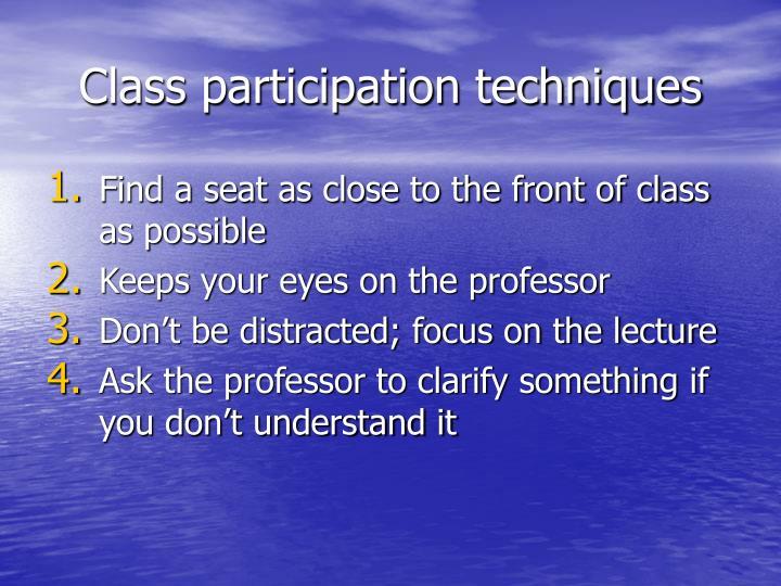 Class participation techniques