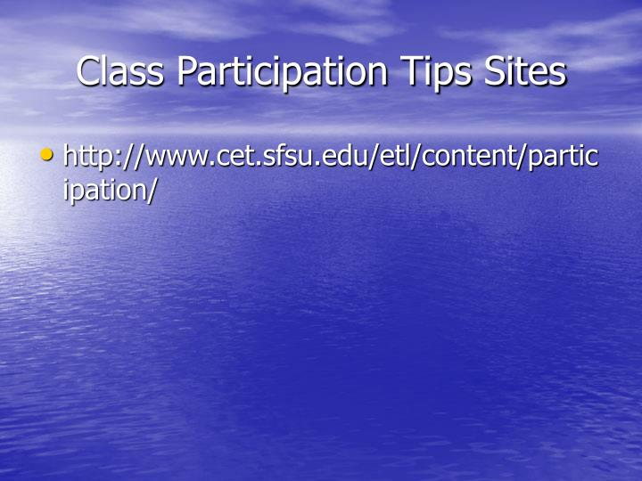 Class Participation Tips Sites