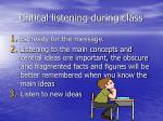critical listening during class