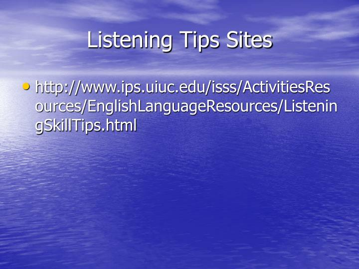 Listening Tips Sites