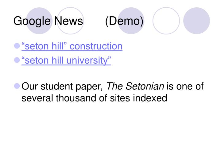 Google News	 (Demo)