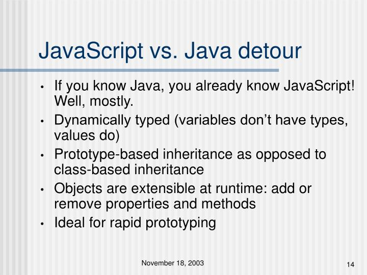 JavaScript vs. Java detour