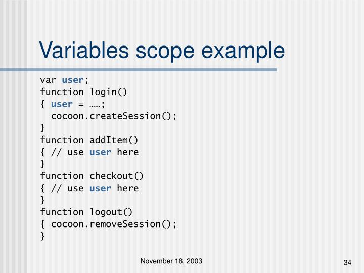 Variables scope example