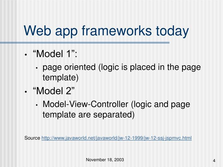 Web app frameworks today