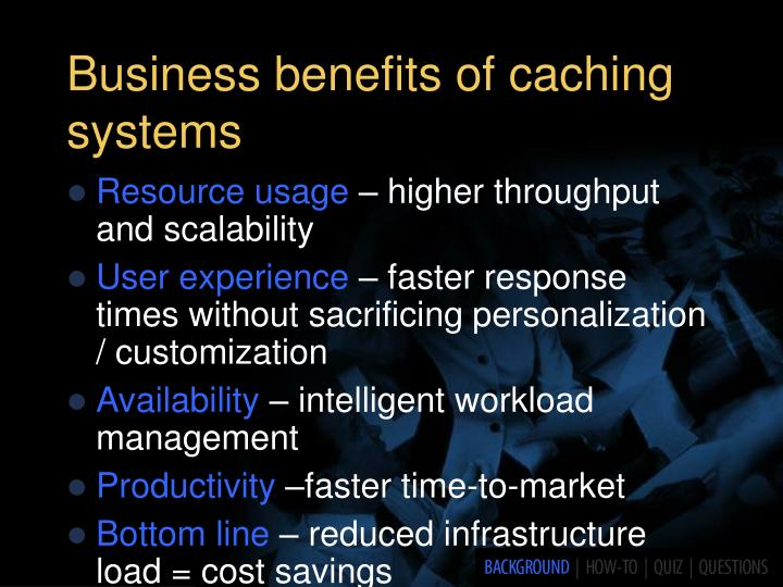 Business benefits of caching systems