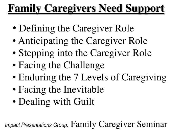 Family Caregivers Need Support