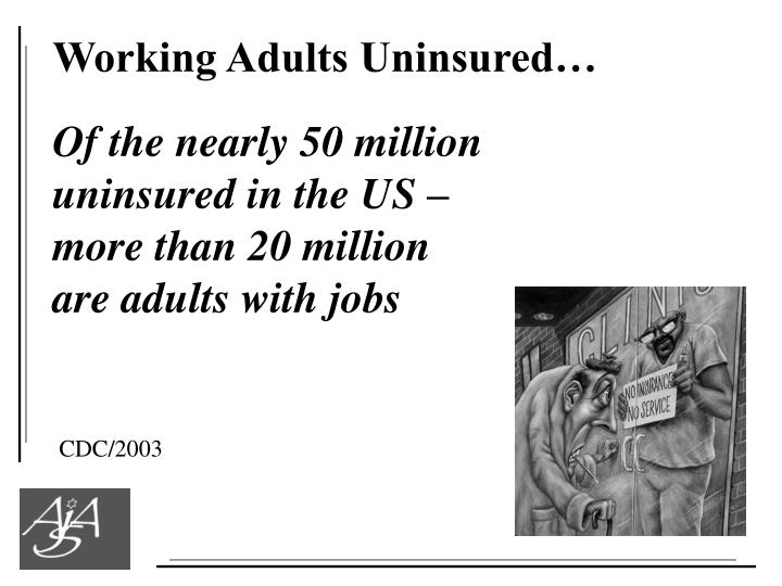 Working Adults Uninsured…