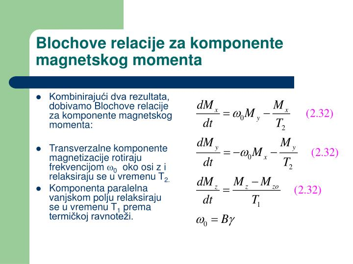 Blochove relacije za komponente magnetskog momenta