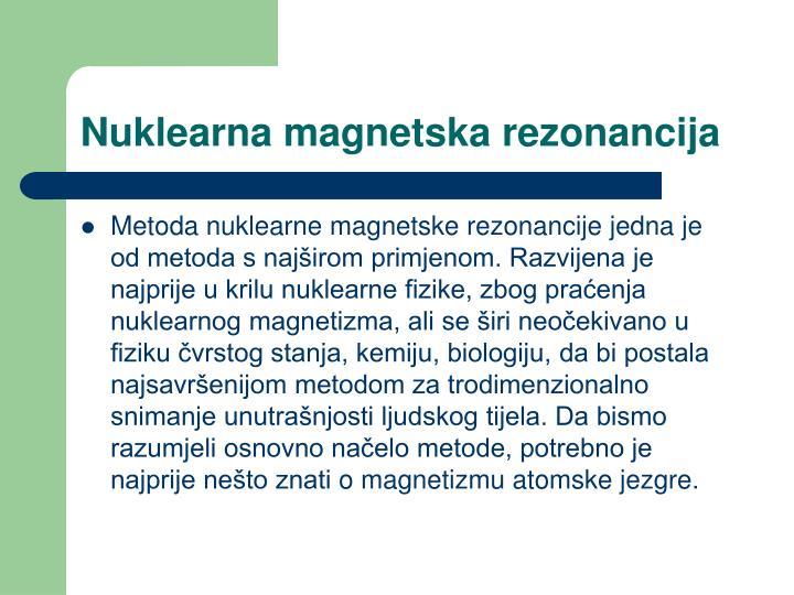 Nuklearna magnetska rezonancija