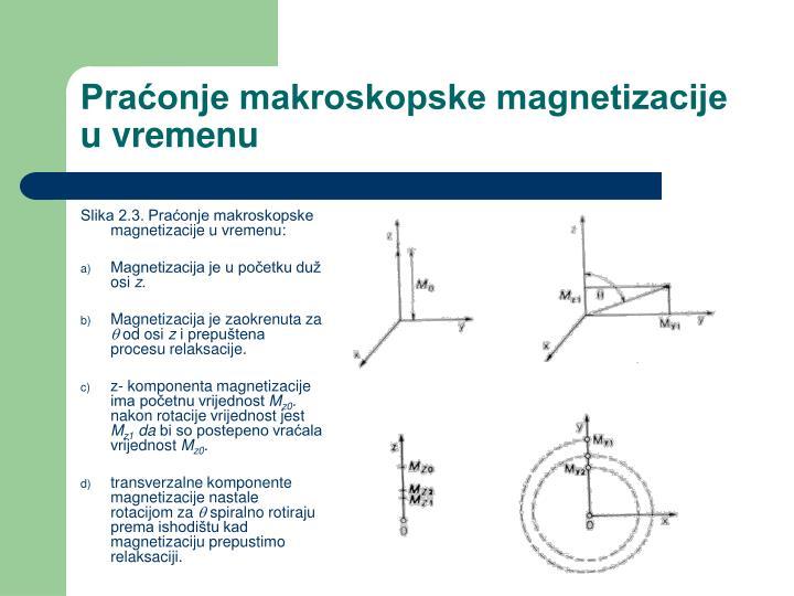 Slika 2.3. Praćonje makroskopske magnetizacije u vremenu: