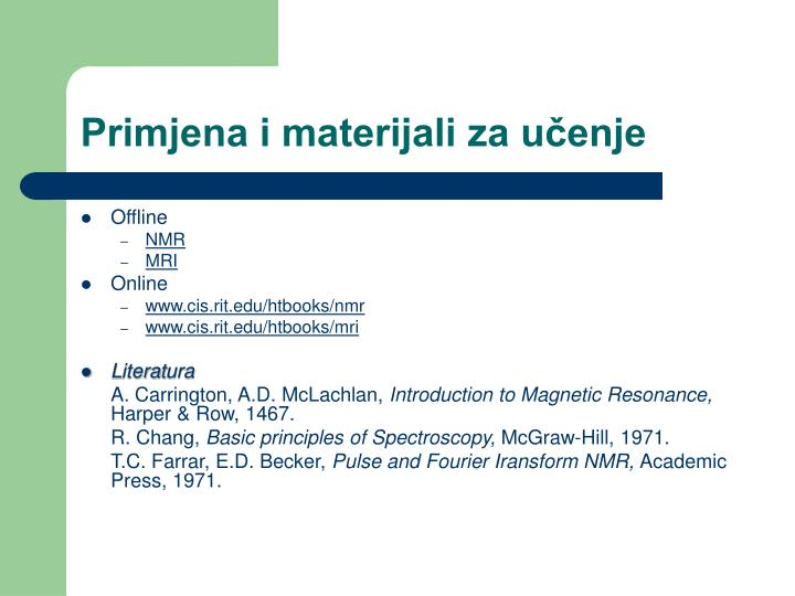 Primjena i materijali za učenje