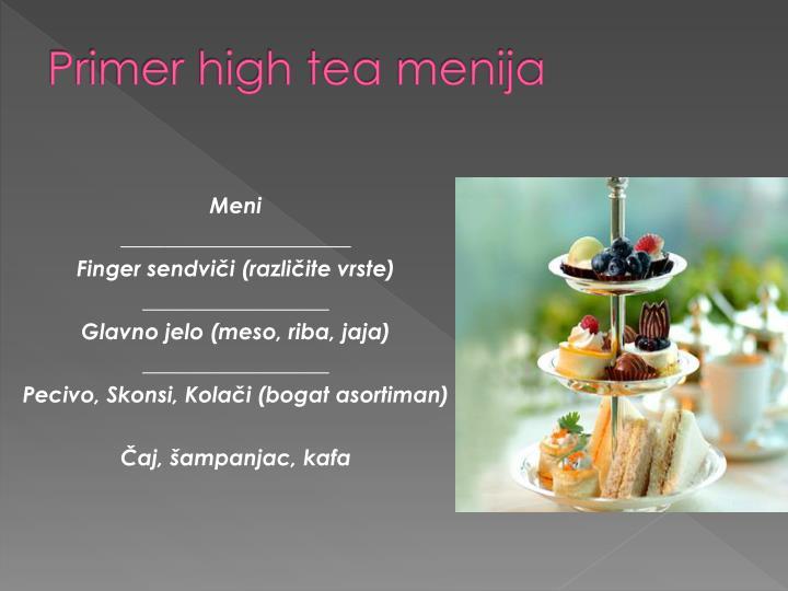 Primer high tea menija